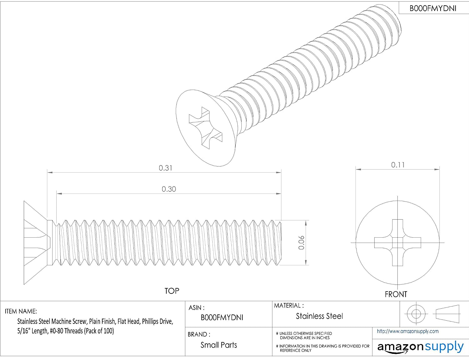 Plain Finish Stainless Steel Machine Screw Pack of 100 Flat Head 5//16 Length 5//16 Length Small Parts B000FMYDNI Phillips Drive #0-80 Threads