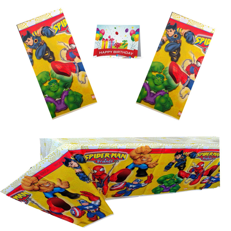 スパイダーマン&友人の誕生日パーティープラスチックテーブルカバーバンドルパック3   B076L7XJF1