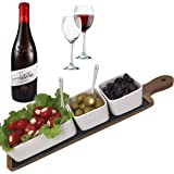 Solander Skelf Serving Tray Charcuterie Board Set - Acacia Cheese Board Slate Wooden Tray | Porcelain Dipping Bowls Set Round | Appetizer Snack Plates Server Cheeseboard Modern Long| Gift Idea