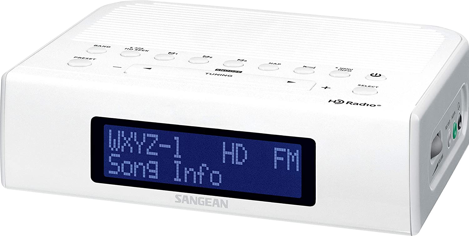 Sangean HDR-15 HD Am/Fm-Rbds Digital Tuning Clock Radio with USB Phone Charging, White