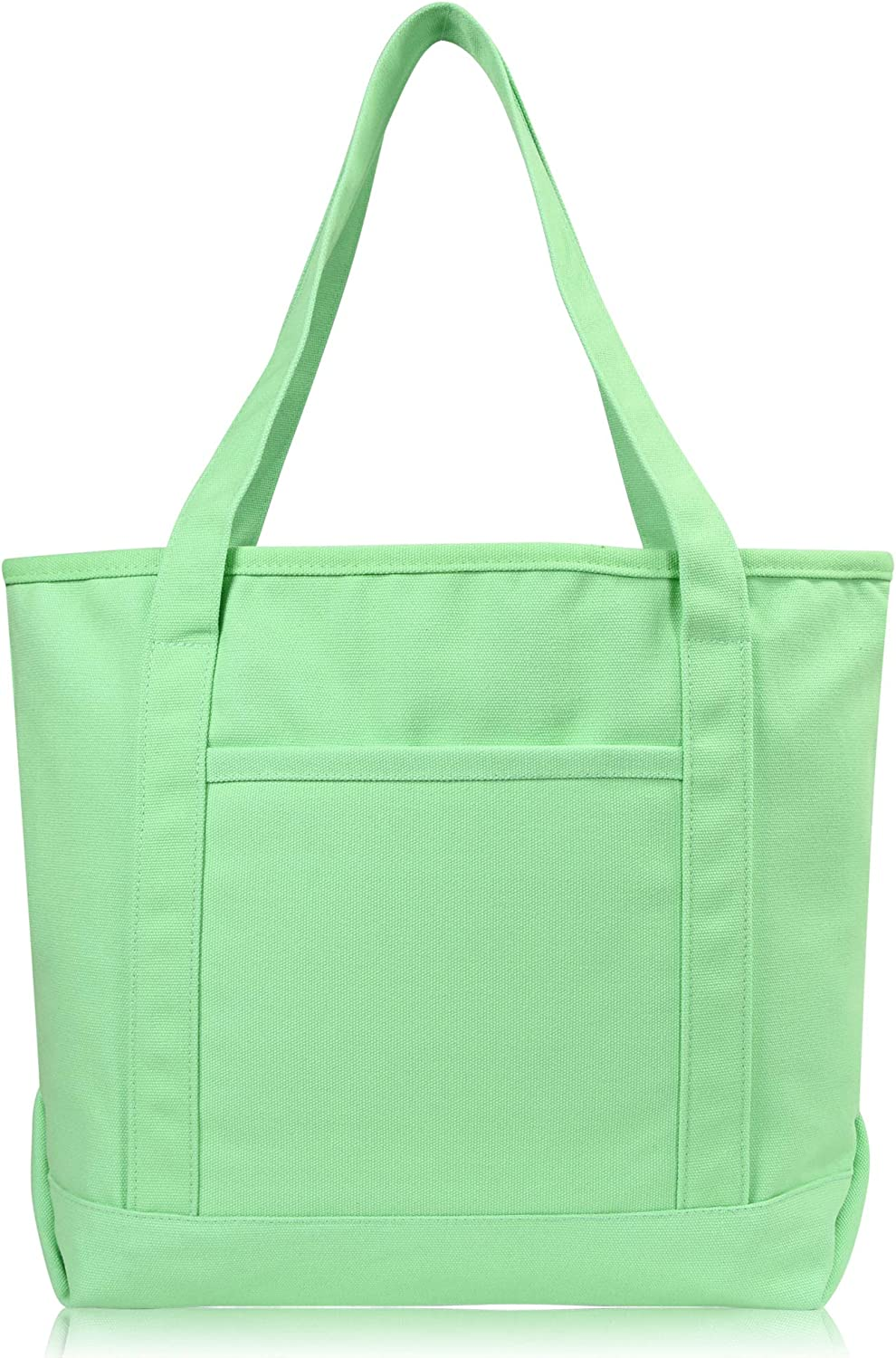 """DALIX 20"""" Solid Color Cotton Canvas Shopping Tote Bag in Mint Green"""