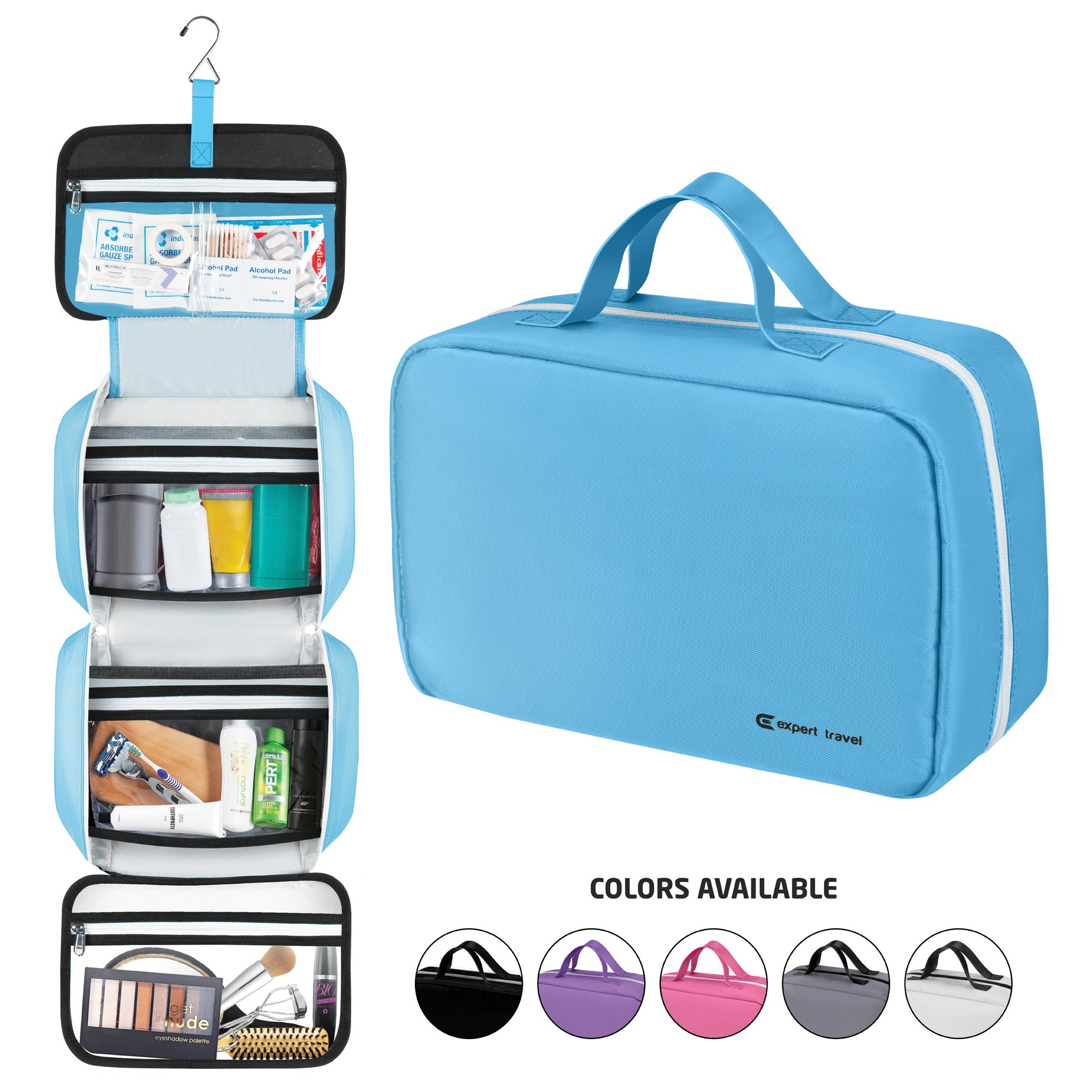 12592267b03f Amazon.com   Hanging Travel Toiletry Bag for Men and Women