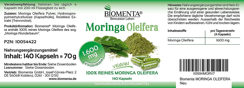 BIOMENTA MORINGA OLEIFERA | 1.600 mg Polvo de moringa | 140 Cápsulas de moringa | VEGANO: Amazon.es: Salud y cuidado personal