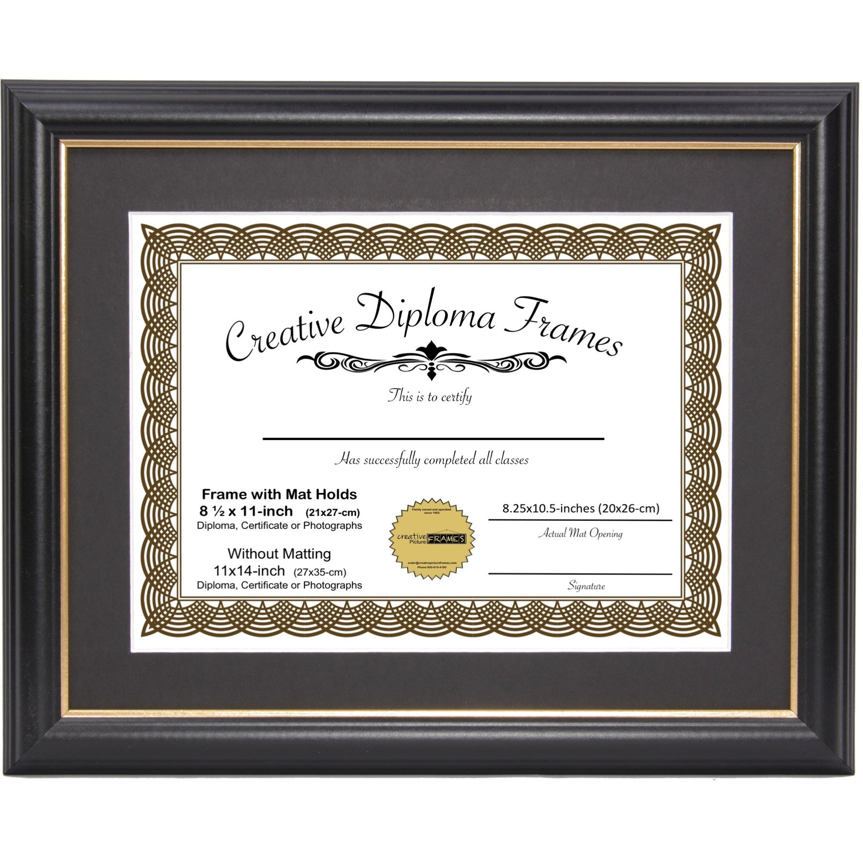 CreativePF [11x14bk.gd] Black Frame with Gold Rim, Black Matting Holds 8.5 by 11-inch Diploma with Easel and installed Hangers