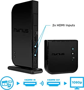 Nyrius Aries Home+ Wireless HDMI 2X Input Transmitter & Receiver for Streaming HD 1080p 3D Video and Digital Audio from Cable Box, Satellite, Bluray, DVD, PS4, PS3, Laptops, PC (NAVS502)