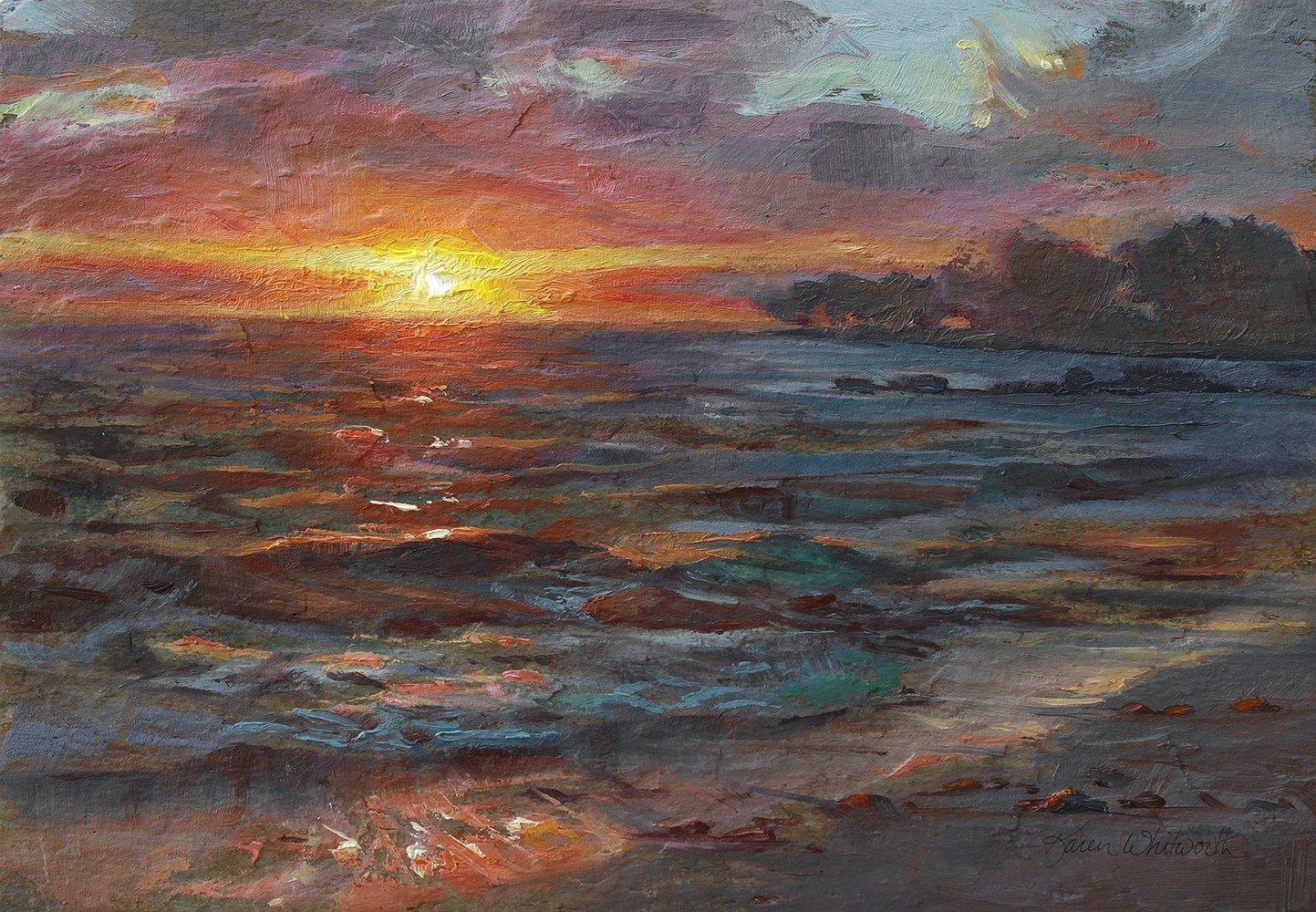 Hawaii Beach Landscape Sunset Art Print - Kona Waves and Ocean Tropical Painting by Karen Whitworth