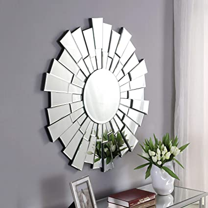 Amazon.com: GA Home Antiqued Sunburst Round Frameless Wall Mirror ...