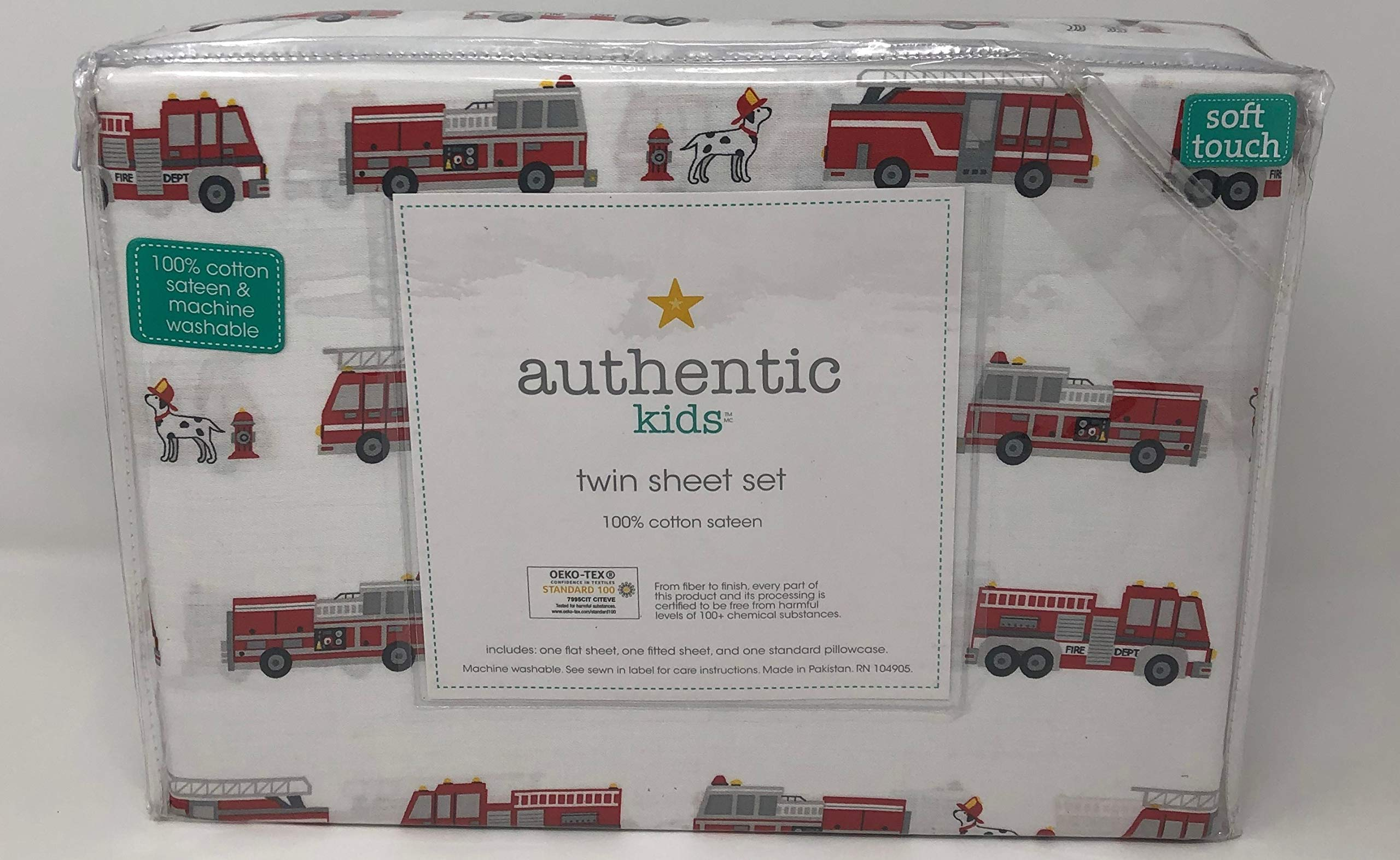 Authentic Kids Fire Trucks and Dalmatian Dogs Sheet Set Twin