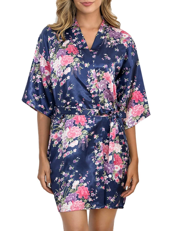 Sykooria Donna Pigiama Kimono Vestaglia da Sposa Fiore Festa Sposa in Satin,Camicia da Notte con Cintura