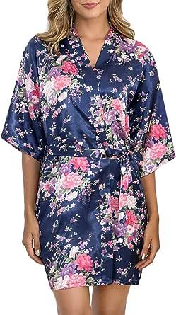 Aibrou Women's Floral Satin Robe Short Silk Bridesmaid Bathrobe Dressing Gown Wedding Kimono Sleepwear