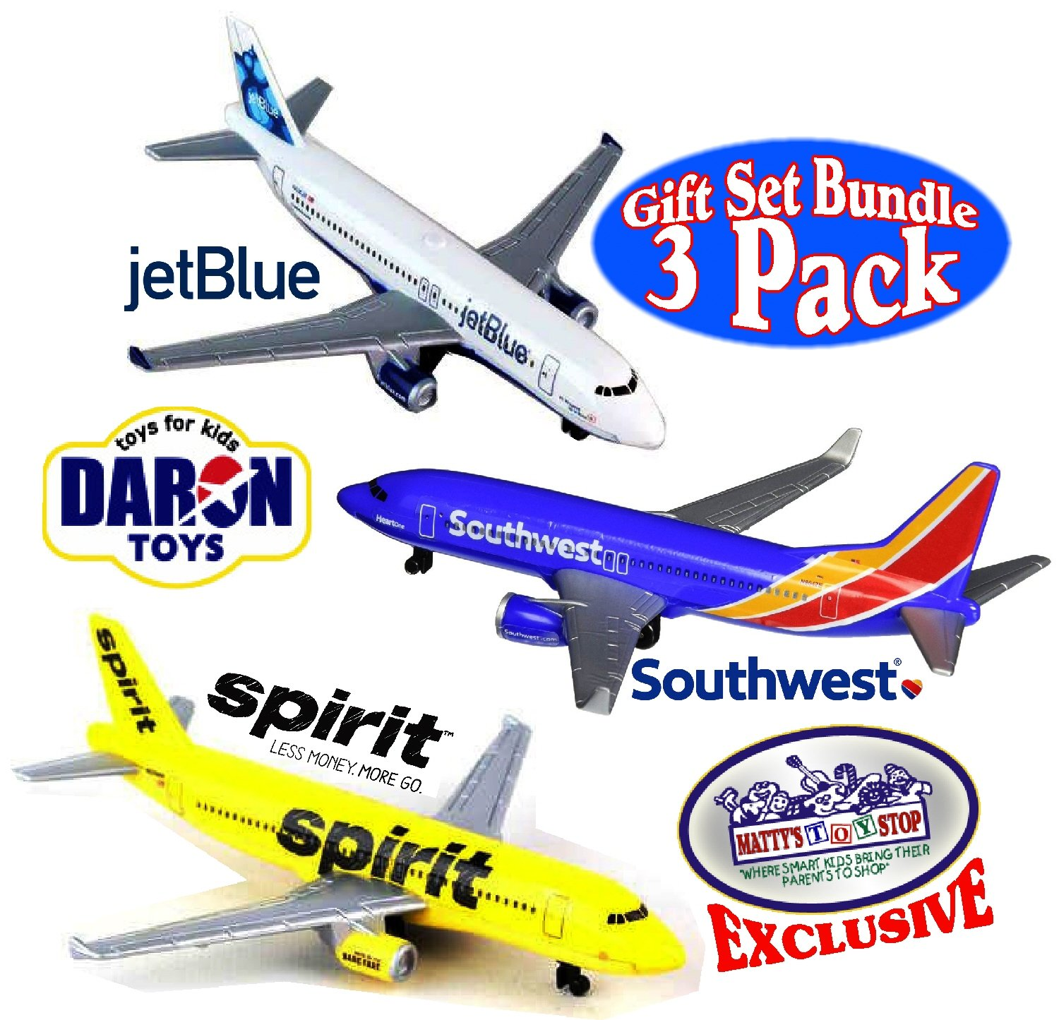 Daron Southwest, JetBlue & Spirit Airlines Die-cast Planes Matty's Toy Stop Exclusive Gift Set Bundle - 3 Pack