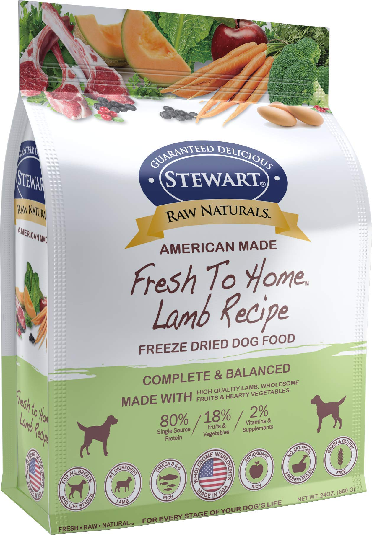 Stewart Raw Naturals Freeze Dried Dog Food Grain Free Made in USA with Lamb, Fruits, & Vegetables for Fresh To Home All Natural Recipe, 24 oz. by Stewart