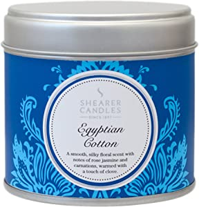 Shearer Candles Egyptian Cotton Large Scented Silver Tin Candle - White