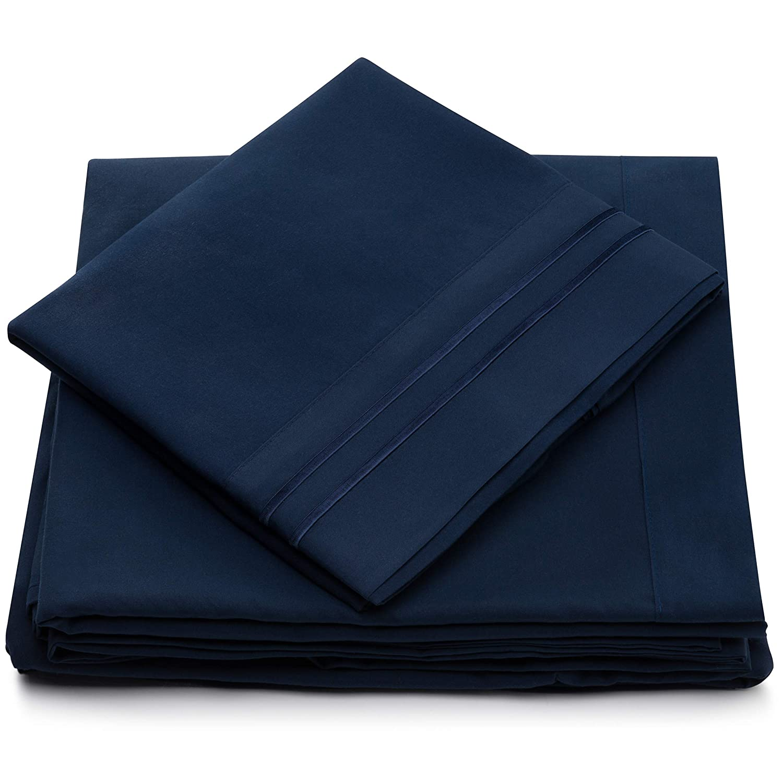 Amazon.com: Twin XL Size Bed Sheets   Navy Blue Luxury Sheet Set