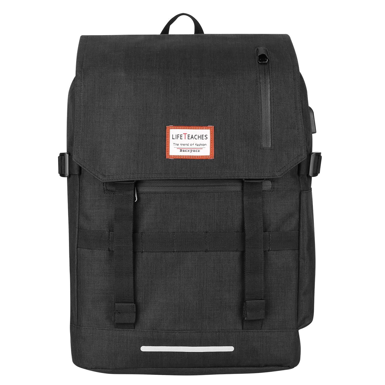 REXSO Laptop Rucksack, Wasserabweisender Reiserucksack Daypack Sport Fahrrad Rucksack Schulrucksack Damen Herren (grau)