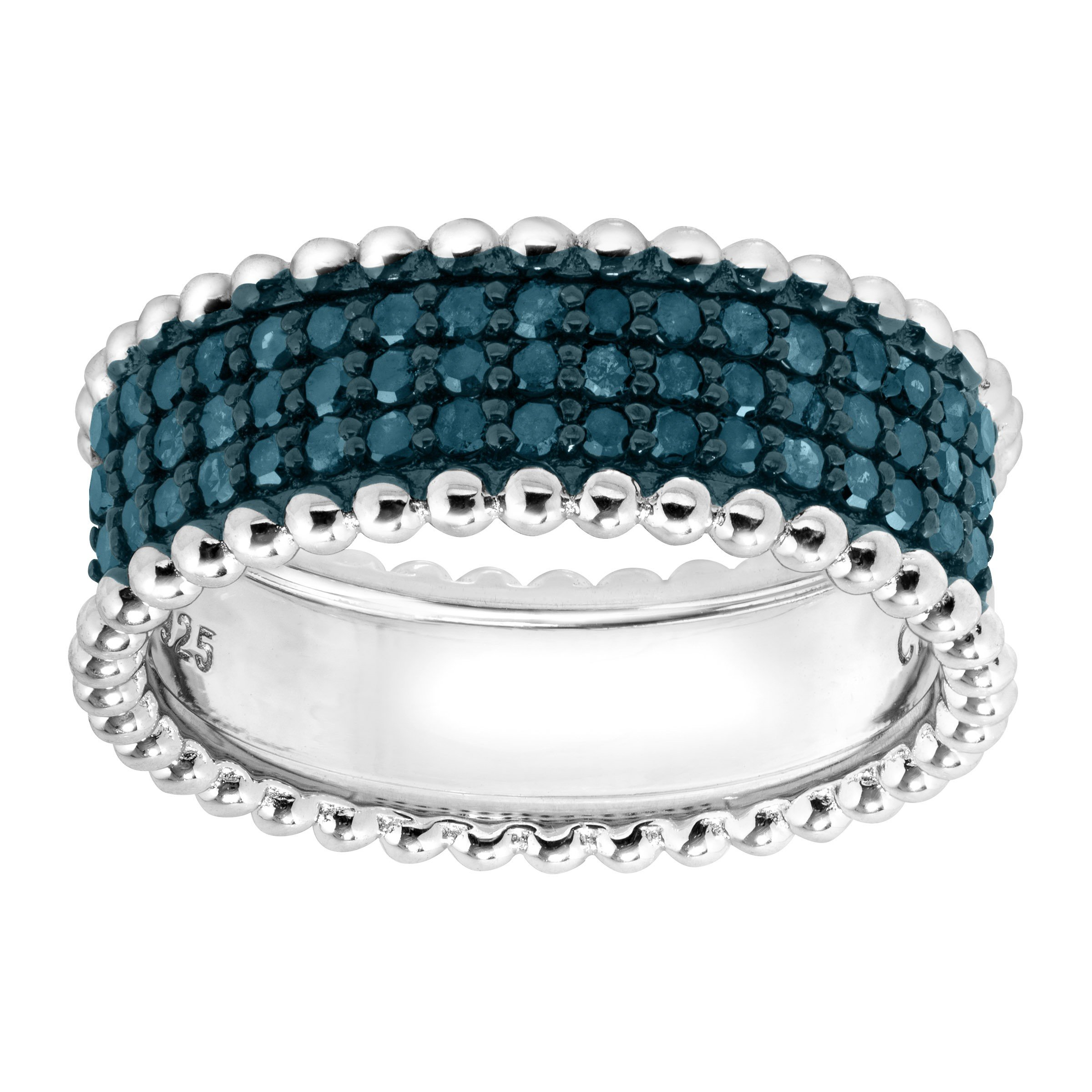 1/2 ct Blue Diamond Band Ring in Sterling Silver Size 6