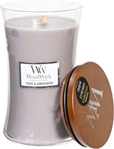 WoodWick Suede & Sandalwood Scented Crackling Wooden Wick Hourglass Candle in Clear Glass Jar, Large - 21.5 Oz