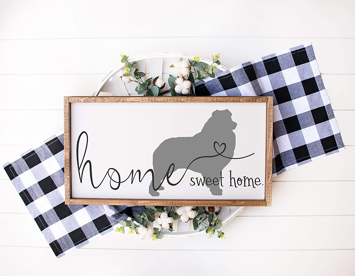 43LenaJon Home Sweet Home Wood Sign with Australian Shepherd Silhouette, Minimal Farmhouse Wood Sign, White Framed, Dog Silhouette, Gift for Do