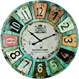 "Wooden Wall Clock Antique Style ""Chateau"" 60cm Diameter (24 inches)"