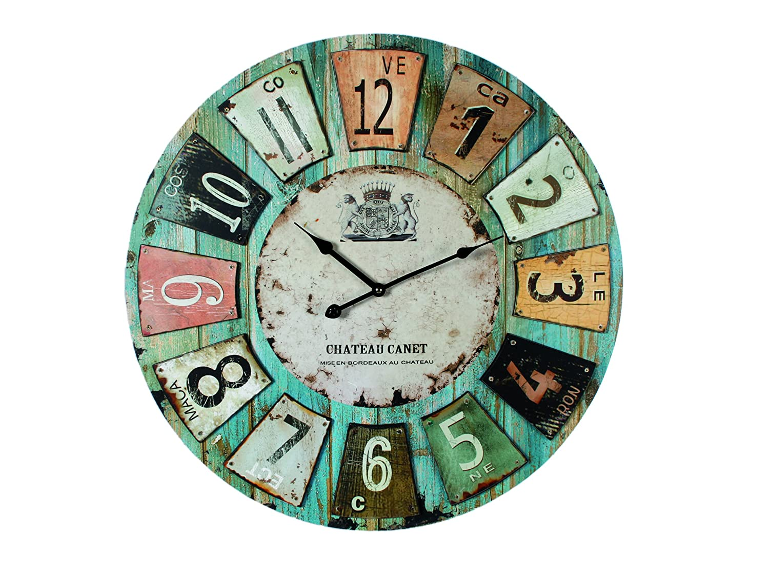 wooden wall clock antique style chateau 60cm diameter 24 inches ebay. Black Bedroom Furniture Sets. Home Design Ideas