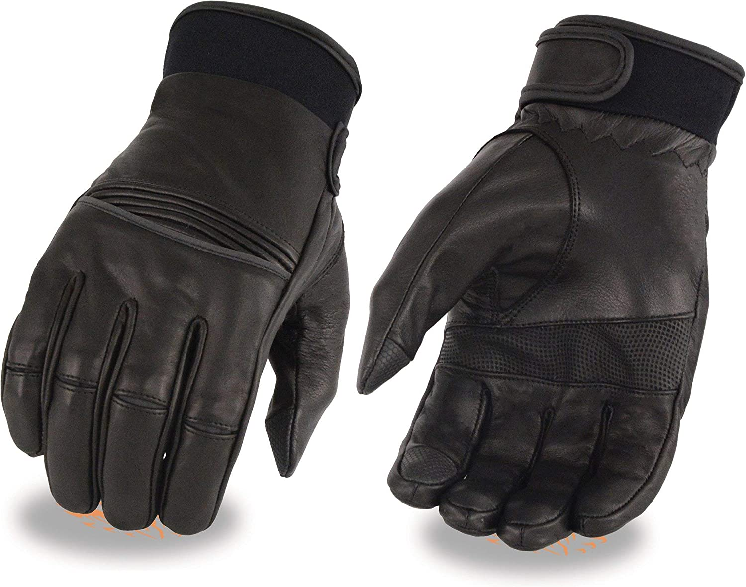 Milwaukee Leather MG7525 Mens i-Touch Black Leather Riding Gloves with Stretch Knuckles 2X-Large