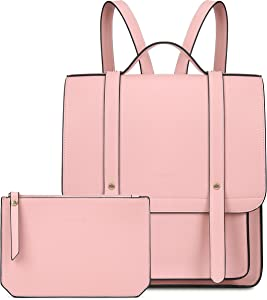 ECOSUSI Laptop Backpack Women Briefcase PU Leather Satchel Backpack for School Messenger Bag Fits up to 14 Inch Laptop with Small Purse, Pink