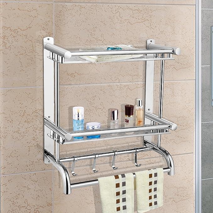 Edelstahl Geb/ürstet SUS 304 KES Badregal Doppelglas mit Wandhalterung Glasboden und Reling Wandablage aus Glas BGS2202B-2