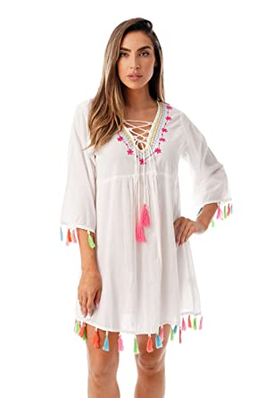 6b1e7bb6767c4 Riviera Sun Swimsuit Beach Cover Up for Women with Neon Tassels and  Embroidery at Amazon Women's Clothing store: