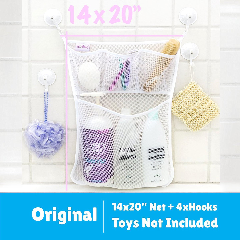 "Strong-Willed Bath Toy Organizer the Original Tub Cubby Large 14x20"" Quick Dry Bathtub Me"
