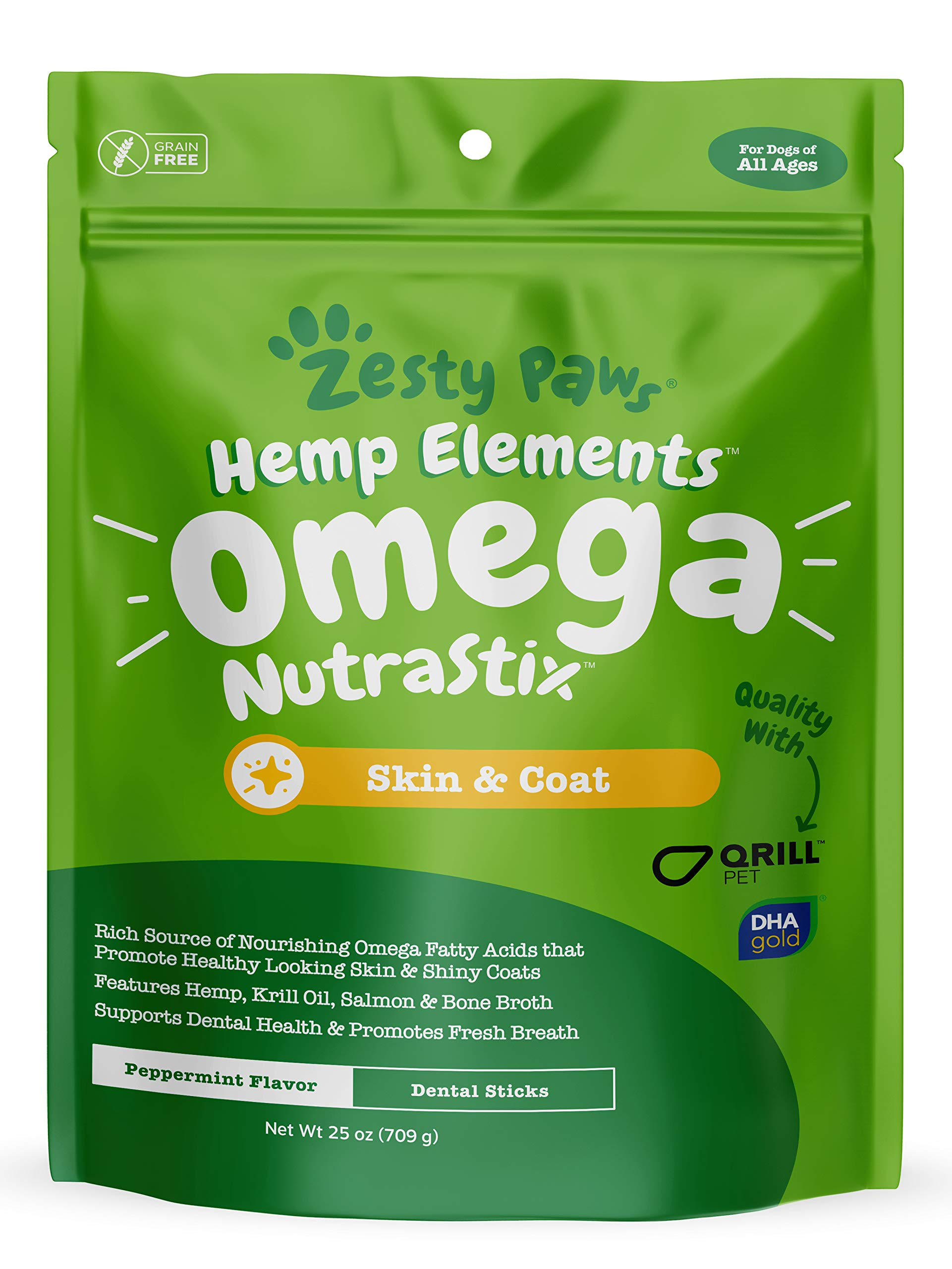 Omega 3 Dental Sticks for Dogs - With Hemp, Salmon, Krill Oil & Bone Broth - Anti Itch Skin & Coat Care + Hip & Joint Health - Heart & Immune System Support - Dog Tartar Teeth Cleaning Treats (25oz) by Zesty Paws