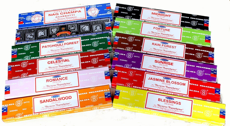 Satya Genuine SATYA SAI BABA NAG CHAMPA VARIETY MIX 12 X 15G BOXES OF INCENSE,