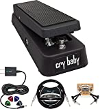 Dunlop GCB95 Cry Baby Standard Wah Pedal for Guitars Bundle with Blucoil Slim 9V Power Supply AC Adapter, 10-FT Straight…