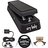Dunlop GCB95 Cry Baby Standard Wah Pedal for Guitars Bundle with Blucoil Slim 9V Power Supply AC Adapter, 10-FT Straight Inst