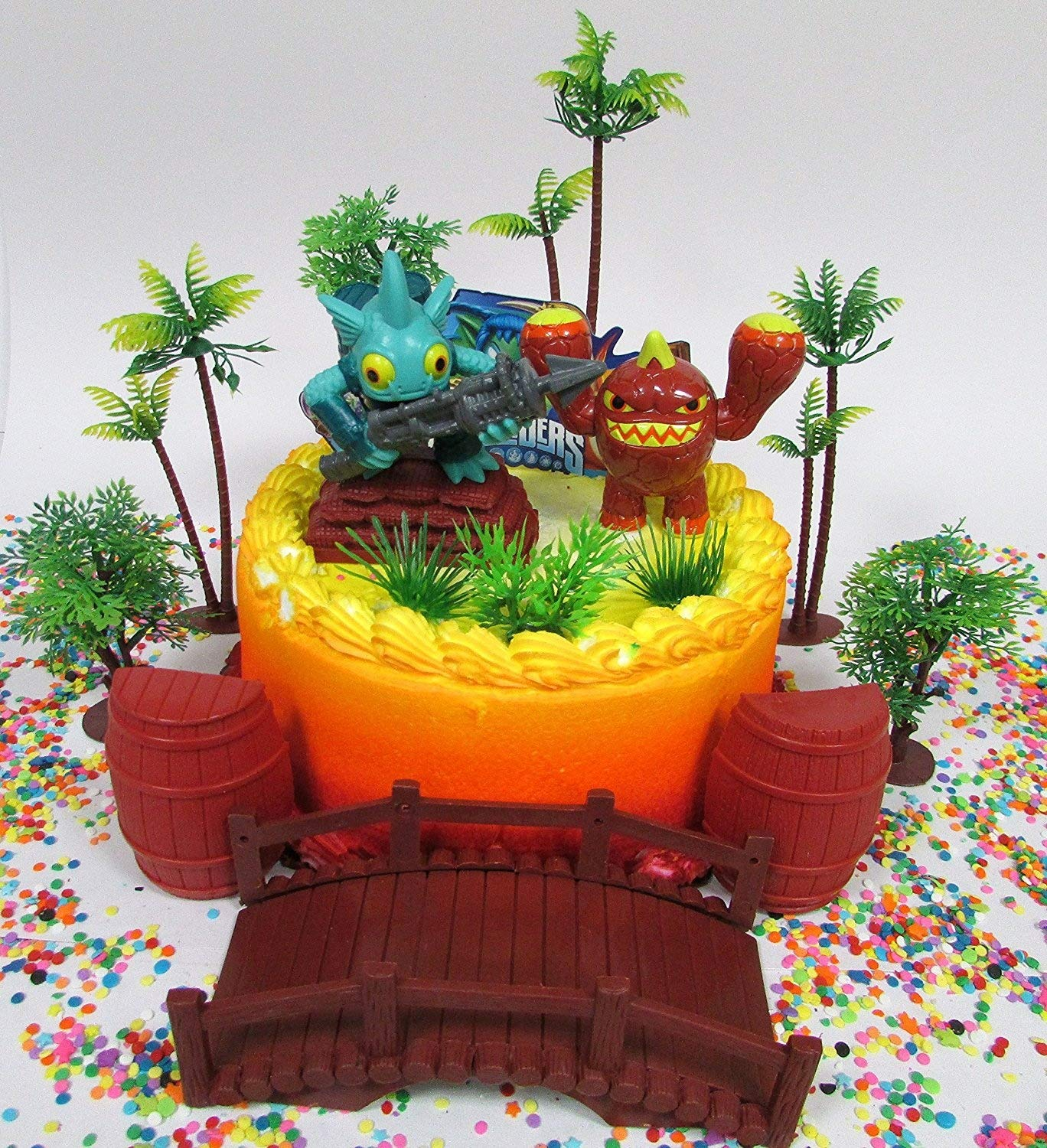 Amazon SKYLANDERS Themed Birthday Cake Topper Set Featuring Skylander Figures And Decorative Accessories Toys Games