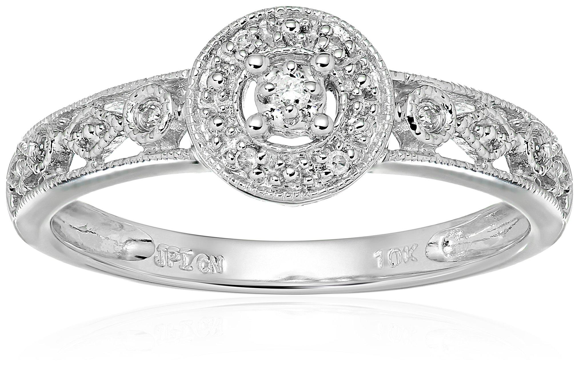 10k White Gold Circle Vintage Diamond Accent Promise Ring, Size 7