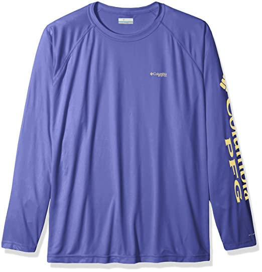 b2ada7f213c1 Columbia Men's Terminal Tackle Big & Tall Long Sleeve Shirt, Purple Lotus,  Sunlit Logo