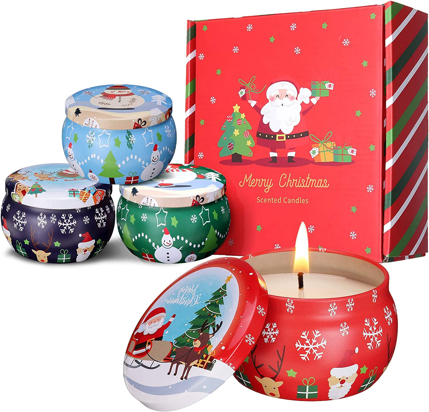 JOSEKO Scented Candles Portable Travel Tin Christmas design set 4 WAS £15.99 NOW £9.59 w/code JOSEKOGIFT @ Amazon