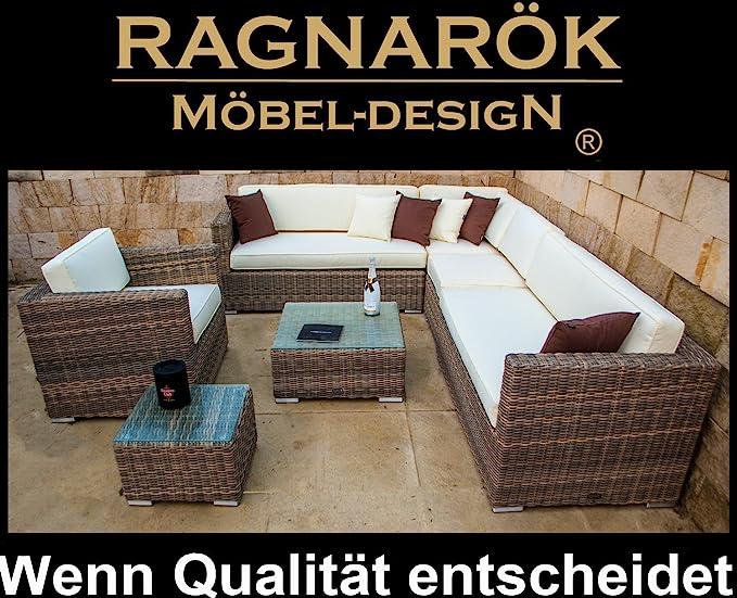 Ragnarök-Möbeldesign PolyRattan Lounge DEUTSCHE Marke - EIGNENE Produktion - 8 Jahre GARANTIE auf UV Beständig - Garten Möbel