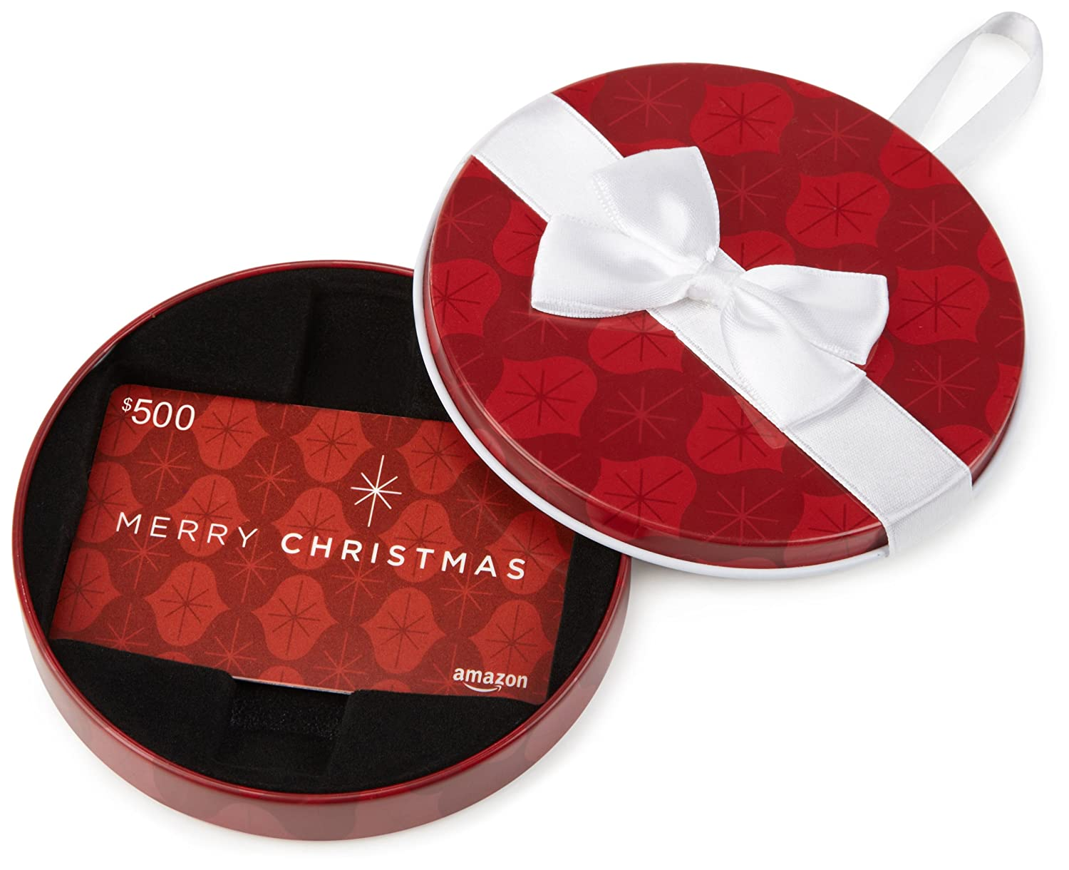 Amazon.ca Gift Card in a Red Ornament Tin (Merry Christmas Card Design)