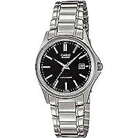 Casio LTP-1183A-1A Women's Silver Analog Dress Watch w/ Black Dial & Date