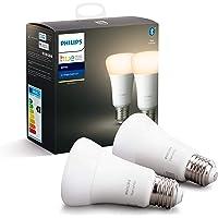 Philips Hue Standaard Lamp 2-Pack - E27 - Duurzame LED Verlichting - Warmwit Licht - Dimbaar - Verbind met Bluetooth of…