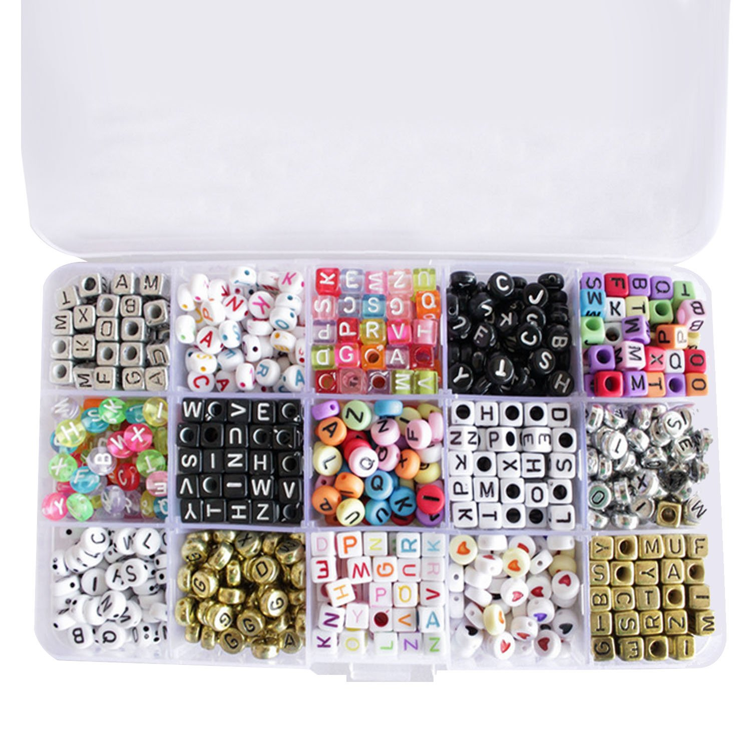 1100 PCS Assorted Color Cube And Round Alphabet Letter Beads with Colorful Letters for DIY Bracelets Necklaces Jewelry Craft Project 15 Styles Gosear