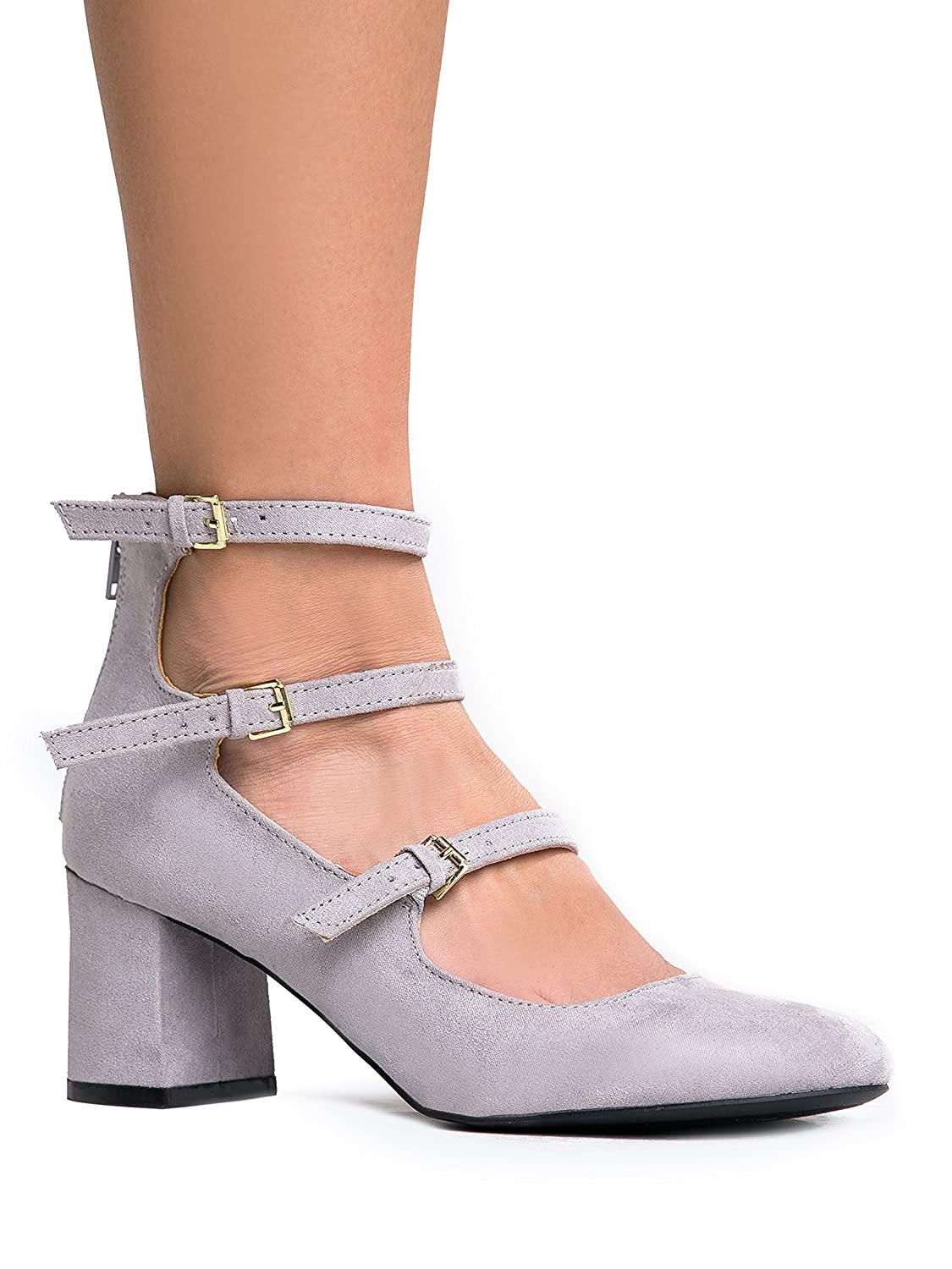 3 Strap Mary Jane Heel Pumps Ð Buckled Strappy Low Block Heel - Cute Ankle Party Heel - Mimosa by J. Adams