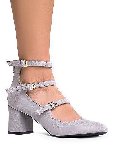 Amazon.com | J. Adams 3 Strap Mary Jane Heel Pumps - Buckled ...