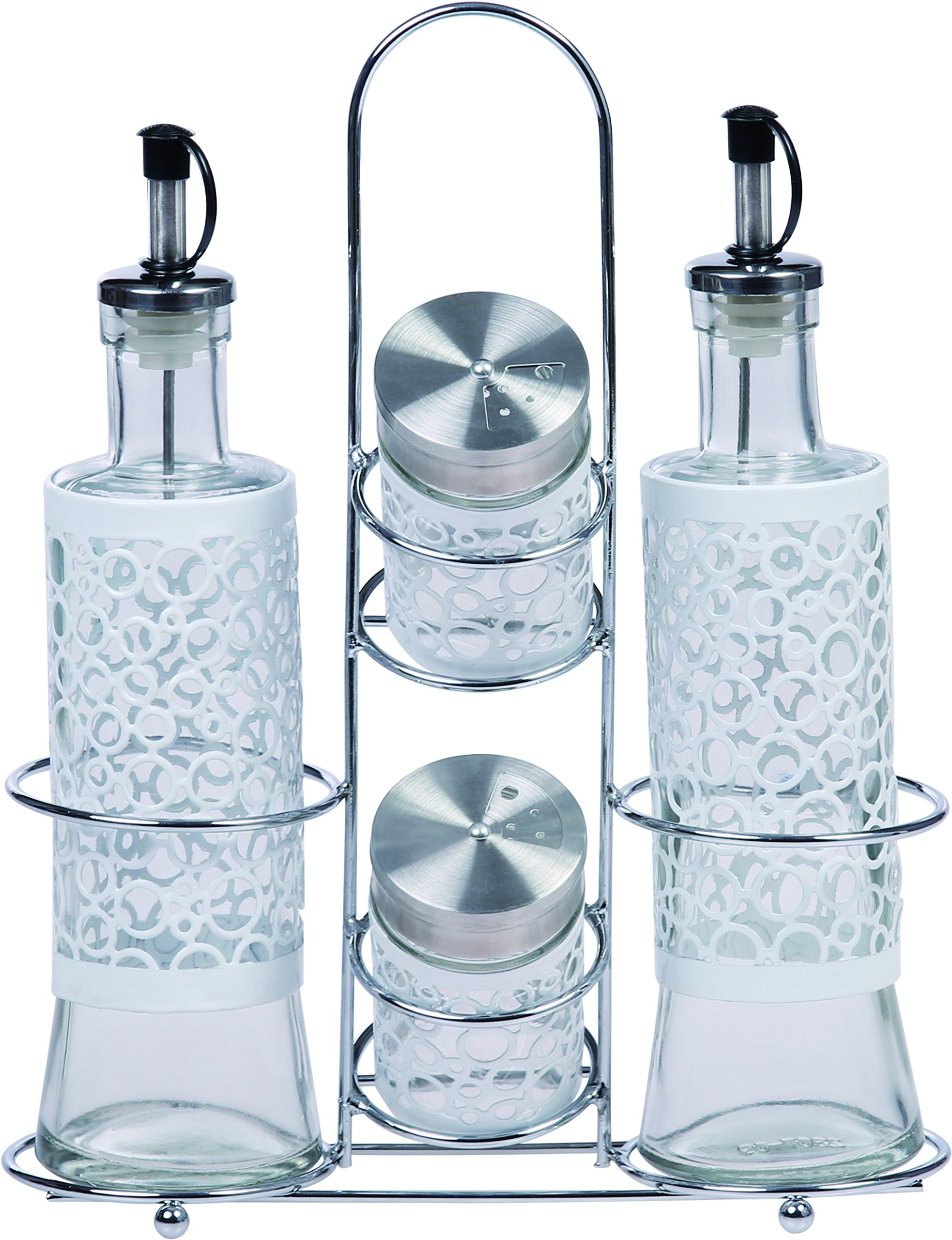 Ragalta USA RAG-G-014W 5 Piece Glass Condiment Set with Stainless Steel Rack Stand and Pour Spouts, White