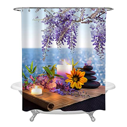 MitoVilla Yoga Spa Shower Curtain Set With Hooks Massage Stones Candles Daisy Wisteria On