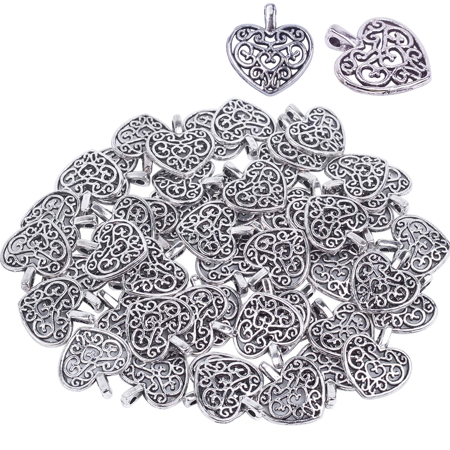 Bonayuanda Pack of 50 Silver Beads DIY Heart Charms Pendants Bracelet Necklace Jewelry Making Accessory(Silver) 4336819455