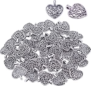 LiQunSweet 10 Pieces 304 Stainless Steel Metal Charming Pendants Christmas Winter Snow Snowflake Pendant Without Jumprings for Crafting Jewelry Findings Making Accessory for DIY Necklace 15.4mm