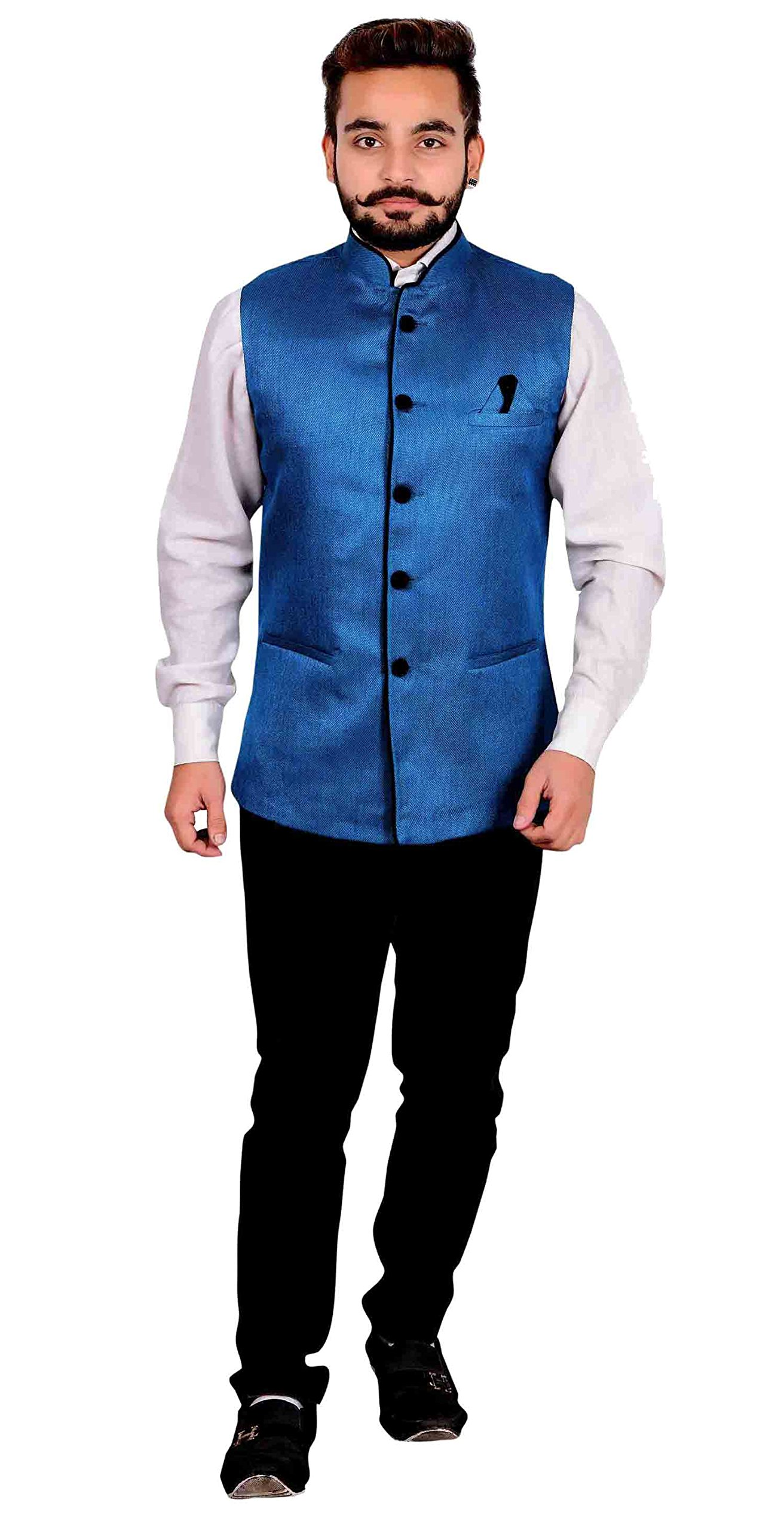 Men's Nehru Gandhi style Waistcoat for shalwar kameez for Indian Bollywood theme party costume 1012 (36 (XS), Blue) by Desi Sarees