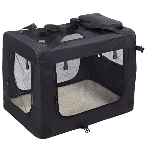KExing Para Perros Plegable Capazos Transportbox Caja de Viaje Gatos Canino Coche Caja Tela Oxford Negro